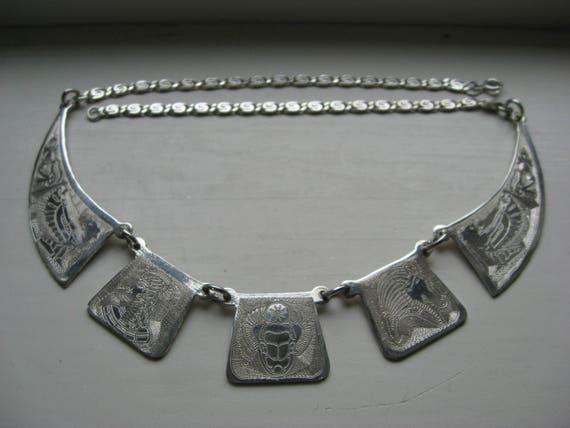 Necklace Silver Ankh Cross Nefertiti Scarab Sphinx Jewelry Egyptian Vintage  Engraving 800 silver Jewelry Hallmarks Initials Handmade Egypt