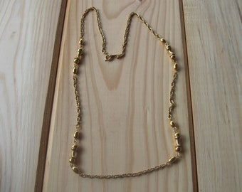 Vintage Made in Korea Chain Necklace, Gold Tone