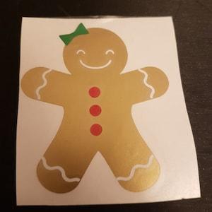Gingerbread man VINYL DECALS Christmas gold mug diy gift stickers