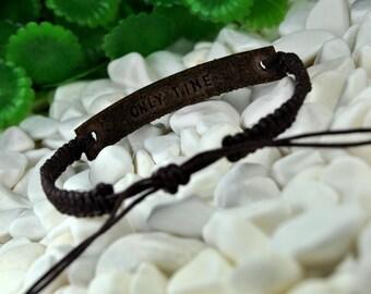 FAST SHIPPING - Personalized Leather and Macrame Bracelet, Dark Brown Leather, Women Bracelet, Men Bracelet, Hidden Message, Macrame Jewelry