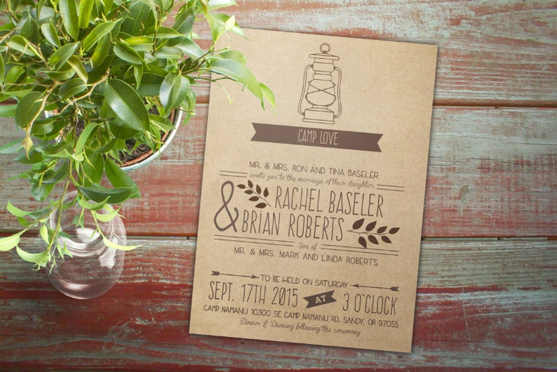 lantern ; Downloadable; Custom; PDF Camping Wedding Invitation Set camp love glamping rustic