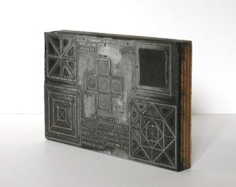 Tampon pour l'imprimerie avec dessins géométriques, 1930s