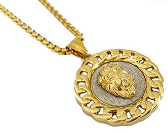 7eab2a9fd Lion Head Cuban Medallion Stainless Steel Pendant Necklace with 18k Gold  Finish