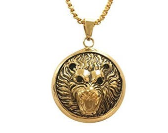 Lions head necklace etsy more colors exo jewel stainless steel lion head pendant aloadofball Choice Image