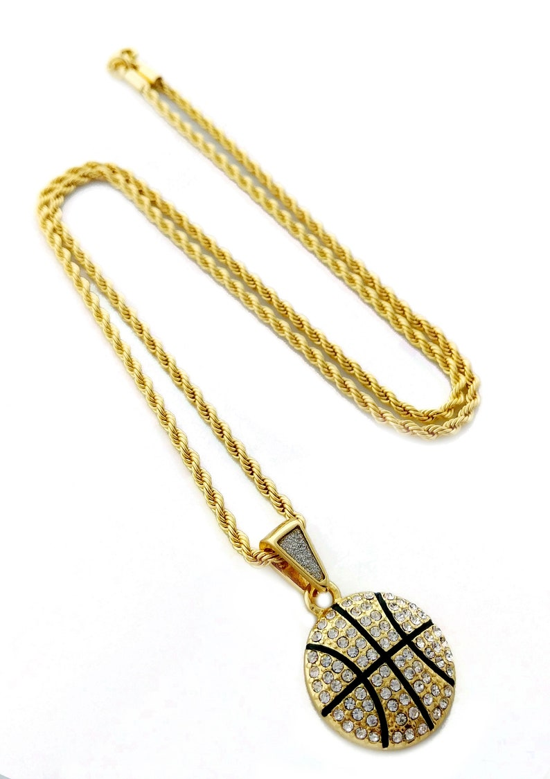 """Iced Out Gold Basketball Hoop Pendant Necklace with 24/"""" Rope Chain"""