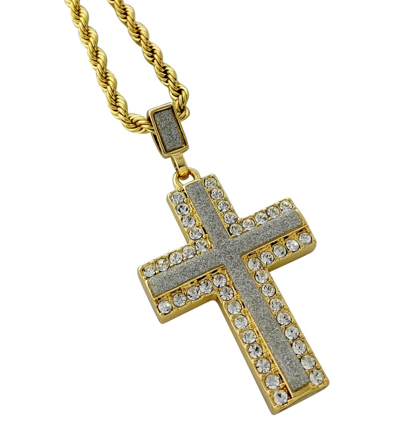 2730ab1fd0163 Iced Out Cross Pendant Necklace with 24
