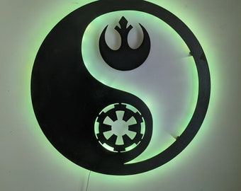 Republic and Galactic Empire Ying Yang LED Wall Art