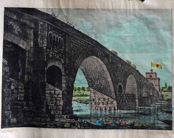 Piranesi III - Roma/Ponte Molle - Cm. 80 x 60 Inches 31,5 x 23,6 - Water-coloured by hand. Since 1930s