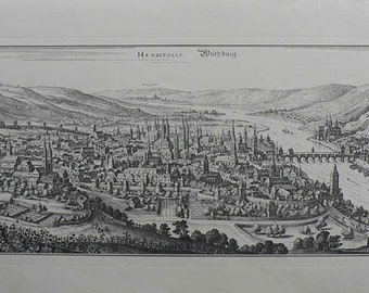 Wurzburg/Germany 1558 (Herbipolis) - Cm. 130 x 56 Inches 51,2 x 22 - Large format.