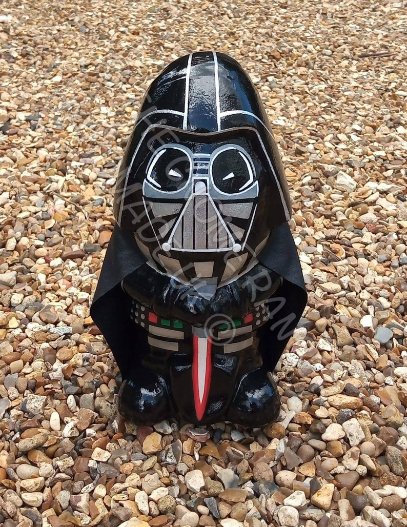 Custom Darth Vader style Star Wars garden gnome hand painted image 0