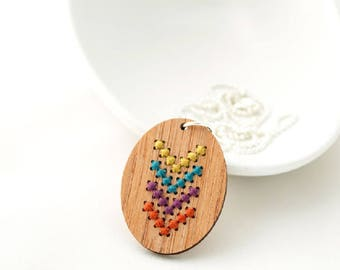 Cross Stitch Kit - Bamboo Necklace - Oval - Red Gate Stitchery