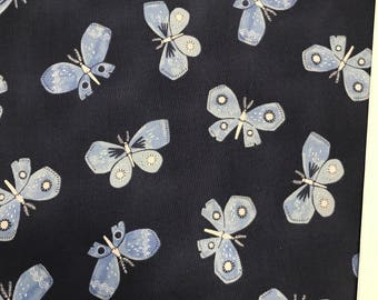 Blue Fabric - Dear Stella Honeybee - Navy Butterflies