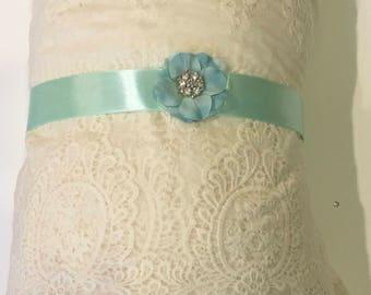wedding bridal Light turquoise satin elegant sash silk satin bridal belt, flower girl bridesmaids sash