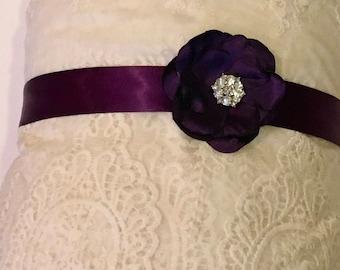 wedding bridal Dark purple satin elegant sash silk satin bridal belt, flower girl bridesmaids sash