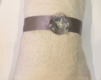 wedding bridal Gray satin elegant sash silk satin bridal belt, flower girl bridesmaids sash
