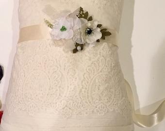 wedding bridal ivory or white flowers elegant sash silk satin bridal belt, flower girl bridesmaids sash