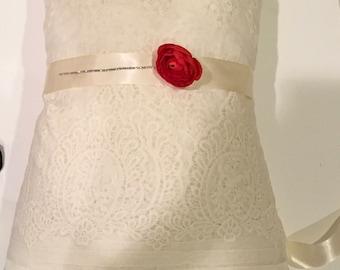 wedding bridal ivory or white elegant sash silk satin bridal belt, any color flower girl bridesmaids sash