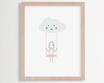 Cloud nursery art,  Cloud nursery print, Baby girl nursery art, Nursery printable art, Printable cloud and girl illustration, Nursery Art