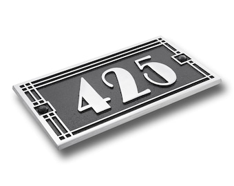 Personalized Metal House Number Plaque/ Art Deco Line Style House Address Plaque Suitable As Unique Gift And Custom Housewarming Gift