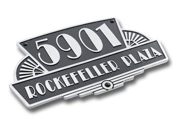 House Number Address Plaque Art Deco Rockefeller Style. Cast Metal Personalised Yard Mailbox Sign With Oodles Of Number And Letter Options.
