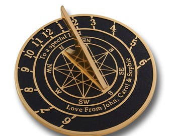 Solid English cast brass sundial with your message cast into it. A perfect personal gift to tell someone you love just how special they are.
