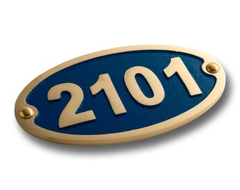 House Number Address Plaque Traditional Oval. Cast Metal Personalised Yard Or Mailbox Sign With Oodles Of Color, Number And Letter Options.