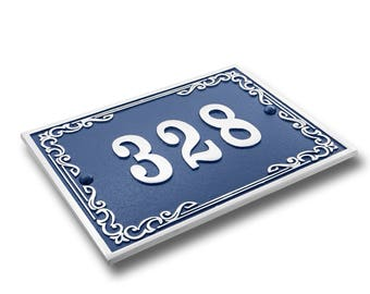House Number Address Plaque Vintage Style. Cast Metal Personalised Yard Or Mailbox Sign With Oodles Of Color, Number And Letter Options.