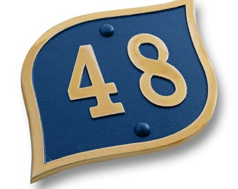 House Number Address Plaque Modern Teardrop. Cast Metal Personalised Yard Or Mailbox Sign With Oodles Of Color, Number And Letter Options