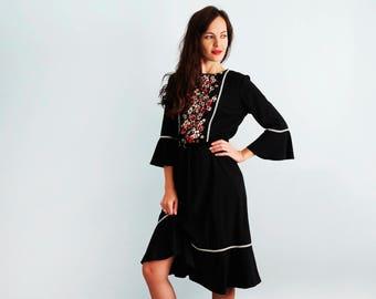 Black  dress  3/4 sleeves Flower dress Casual dress Black cocktail dress Long sleeve dress Boho dress Boho style Flounced dress