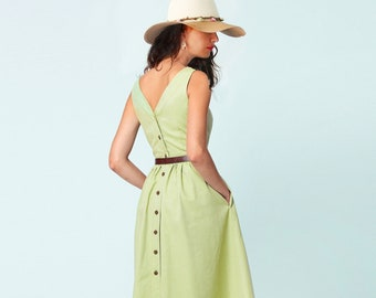 Summer dress Cotton fashion dress Sleeveless dress Midi dress Сasual dress Dress with pockets Dress with a lush skirt Dress with open back
