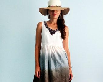 Cotton summer dress with knitted decor Summer sundress