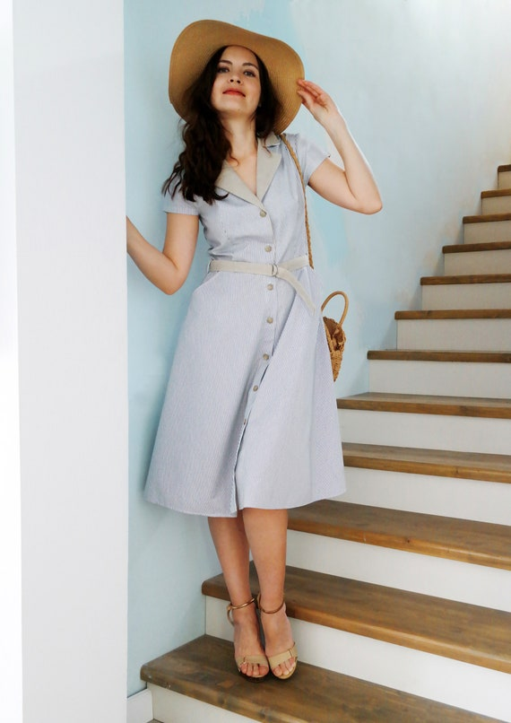 Striped dress Blue dress Casual dress Summer dress Knee length dress Casual  midi dress Cotton summer Dress with short sleeves Retro dress