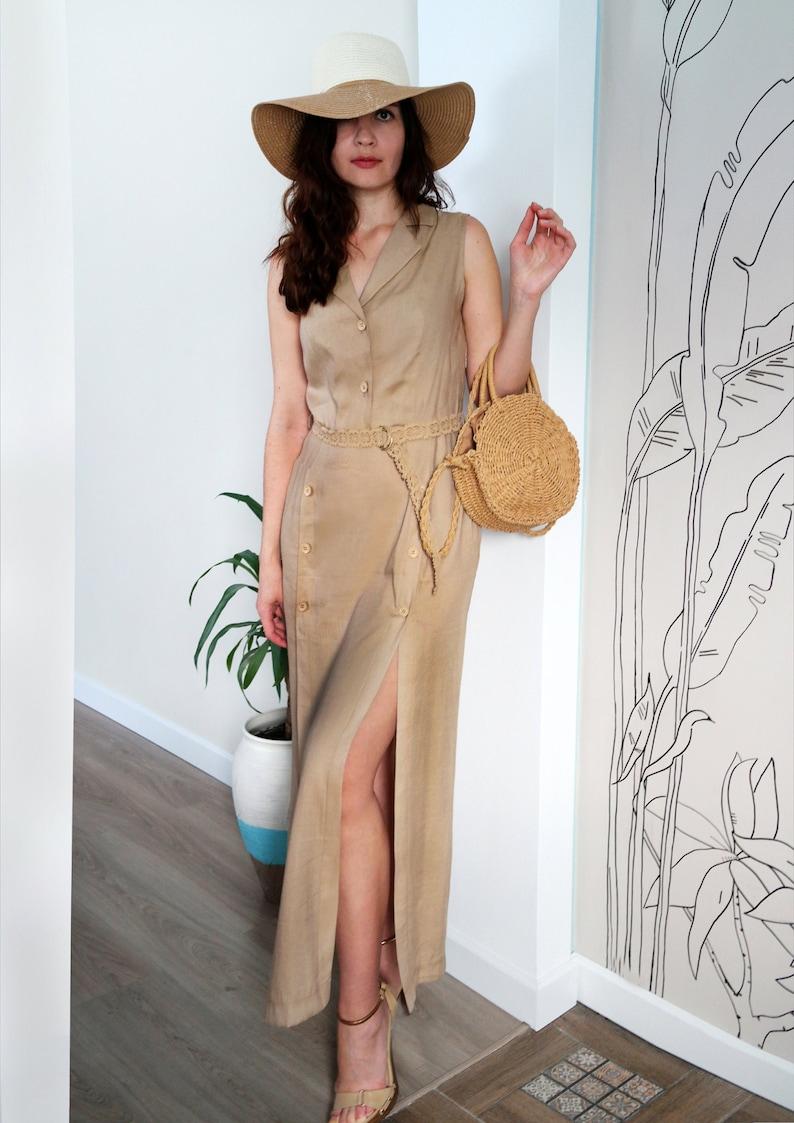 57022b6dcdfd Abito color sabbia Safari dress abito lino abito di cotone