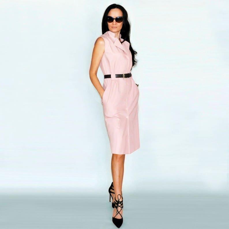 e0911e7712bc7d Roze zomerjurk katoenen mode jurk Midi jurk Сasual jurk roze