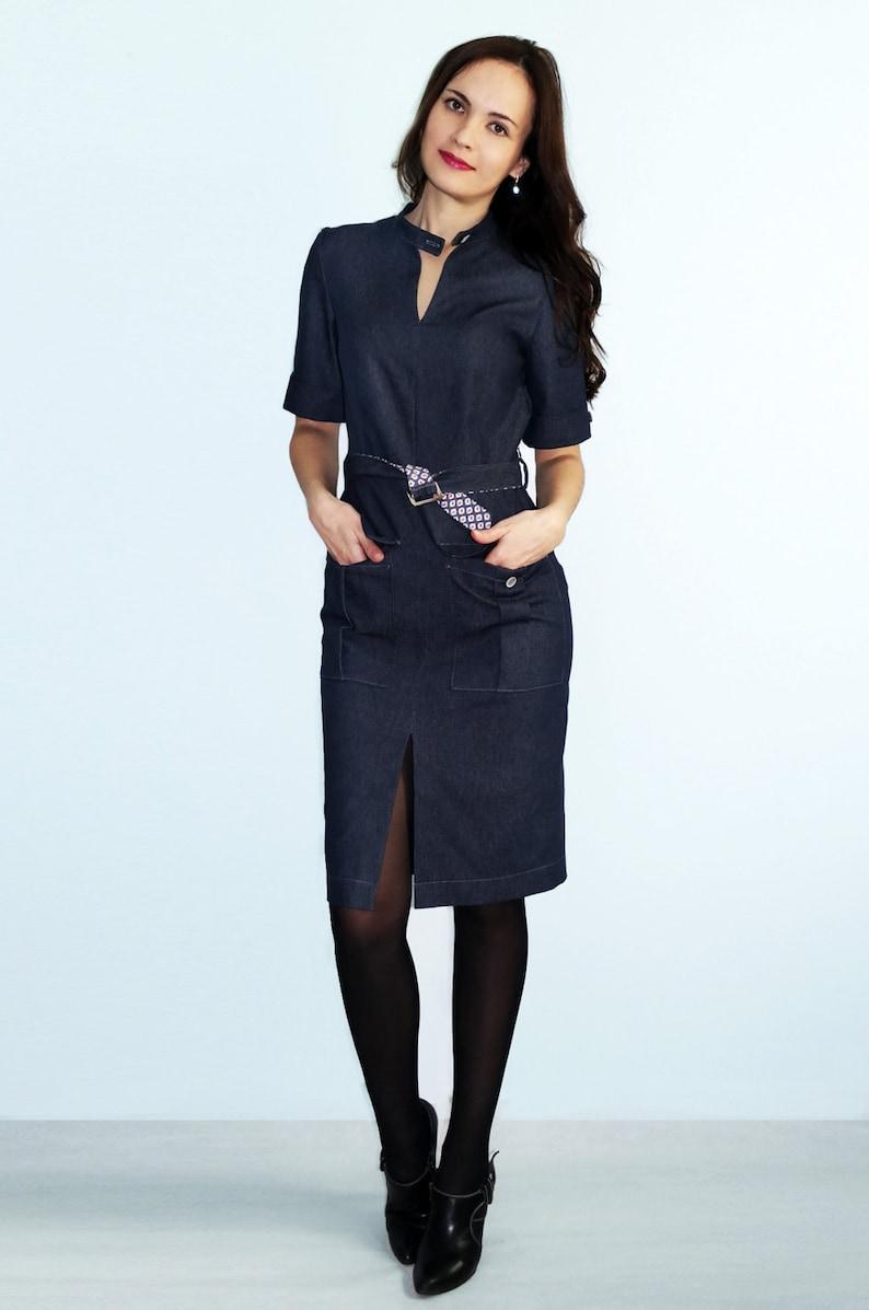 54d07de30 Dril de algodón azul vestido Jeans moda vestido Midi corto