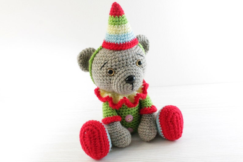 PATTERN : Bear-teddy  Crochet  Amigurumi bear Clown  bear image 0