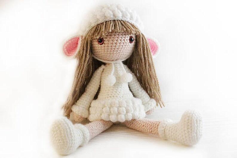 PATTERN : Doll  lamb girl  sheep  lamb  Crochet pattern  image 0