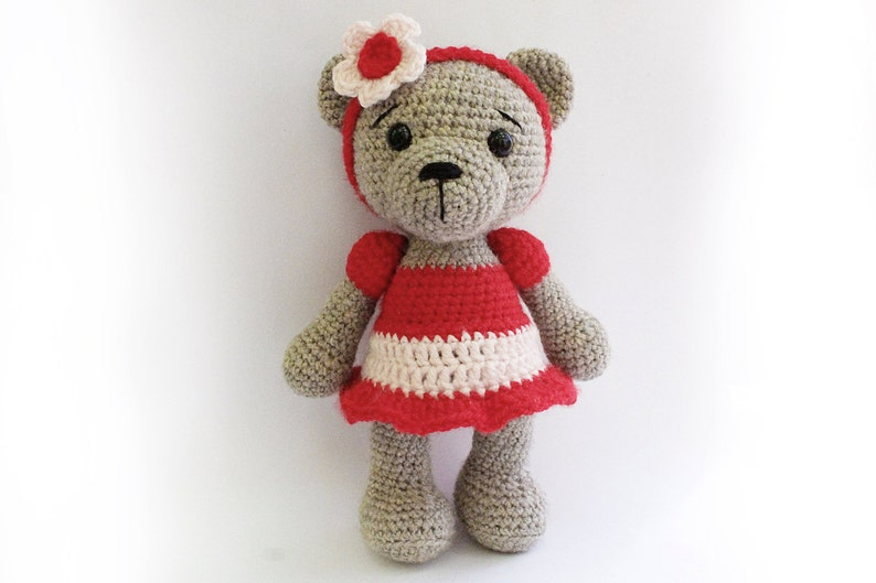 PATTERN : Bear teddy Bear Girl-Amigurumi bear image 0