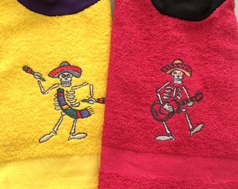 Embroidered Day of the Dead Bibs