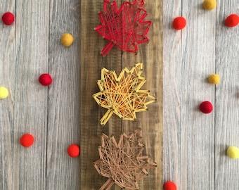 String Art - Customizable String Art - Fall Leaves String Art - Nail and String Art - Thanksgiving Decor - Fall Decor