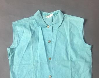 Vintage 50s blouse / 1950s blouse  /  1950s button down top / cotton top  / cotton button down  / sleeveless top / 8155