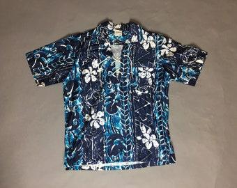 78ecd4ef Vintage Hawaiian shirt / vintage mens tiki shirt / cotton hawaiian shirt / Hawaiian  shirt / Lehua 8250