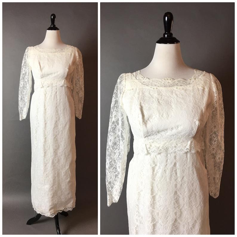 1960s Wedding Dresses.Vintage 60s Wedding Dress 1960s Wedding Dress Wedding Dress Lace Dress Ivory Dress Cocktail Formal Dress 2403