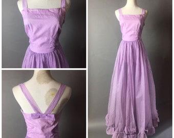 Vintage 50s dress / 1950s dress / vintage 60s dress / 1960s dress / maxi dress / polka dot dress / party dress / Prom Dress / 8554
