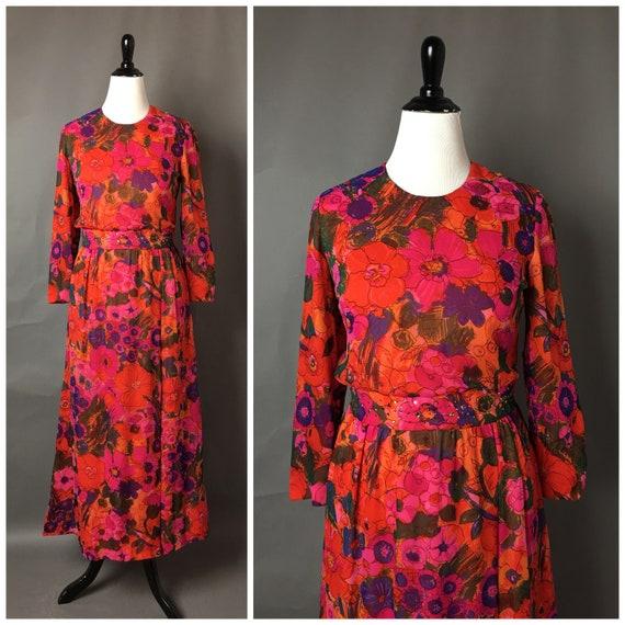 Vintage 60s dress / 1960s dress / floral dress / m