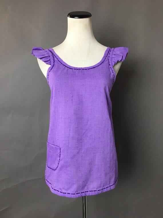 Vintage apron / mini apron / purple apron / ruffle
