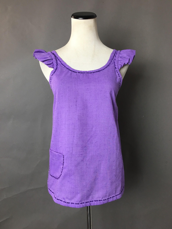 Vintage Aprons, Retro Aprons, Old Fashioned Aprons & Patterns Vintage ApronMini Purple Ruffle 2581 $21.00 AT vintagedancer.com