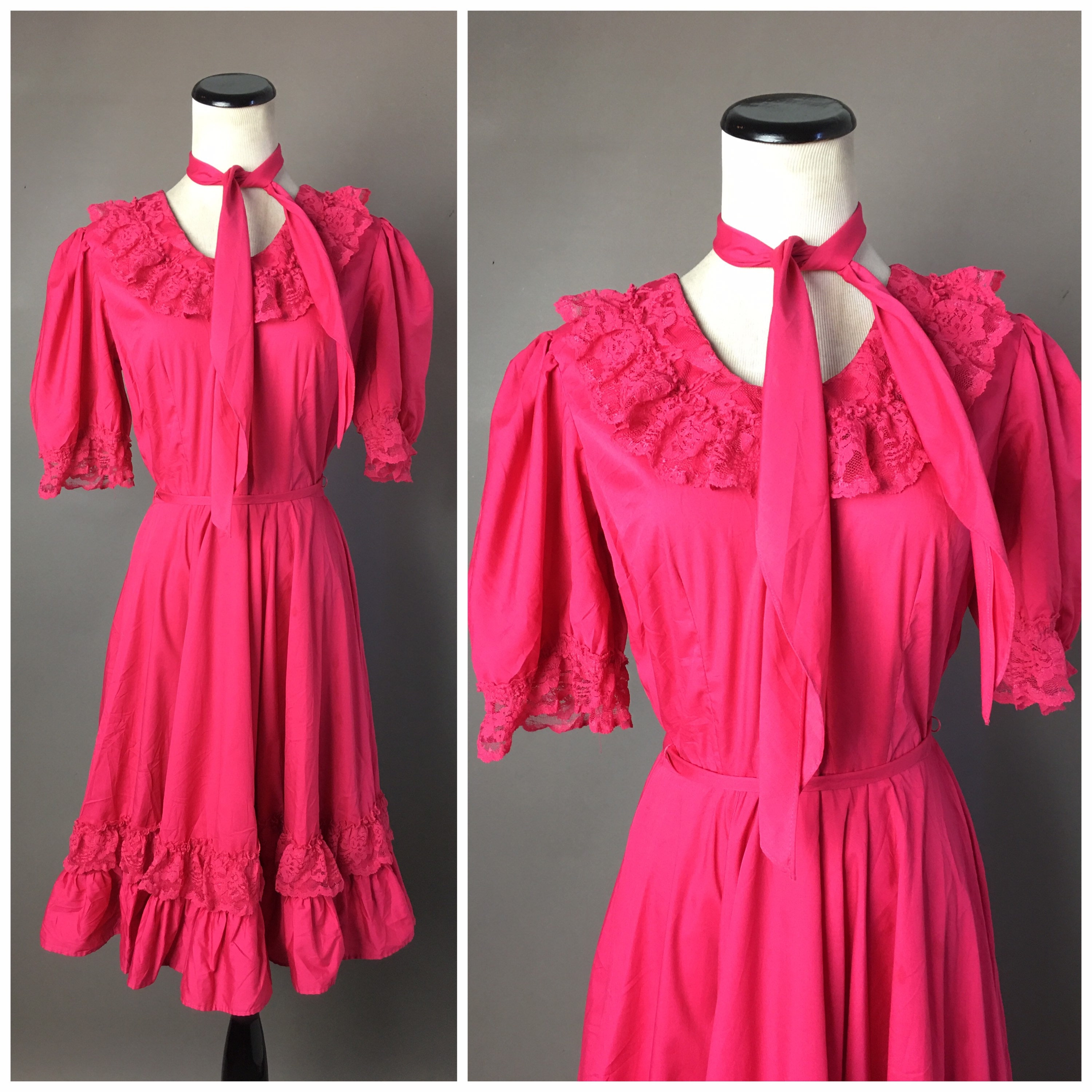 Vintage Scarf Styles -1920s to 1960s Vintage 70S Dress1970S Hot Pink Fit  Flare Square Dancing Party Prom 4733 $48.00 AT vintagedancer.com