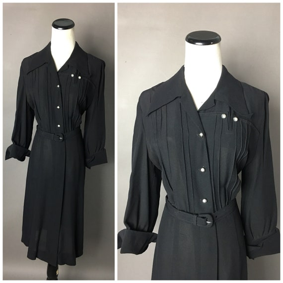 Vintage 40s dress / 1940s dress / rayon dress / co