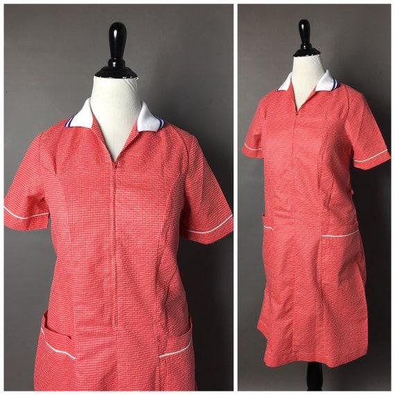 Vintage 70s dress / 1970s dress / 70s smock / plai